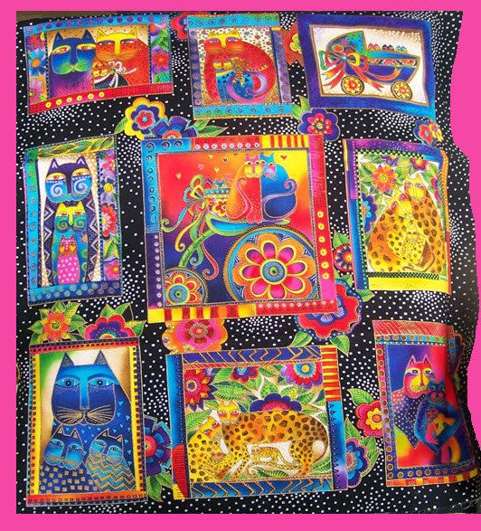 2 Fabric Panels  FANCIFUL FELINES  Retired by minnesewtogether, $19.99