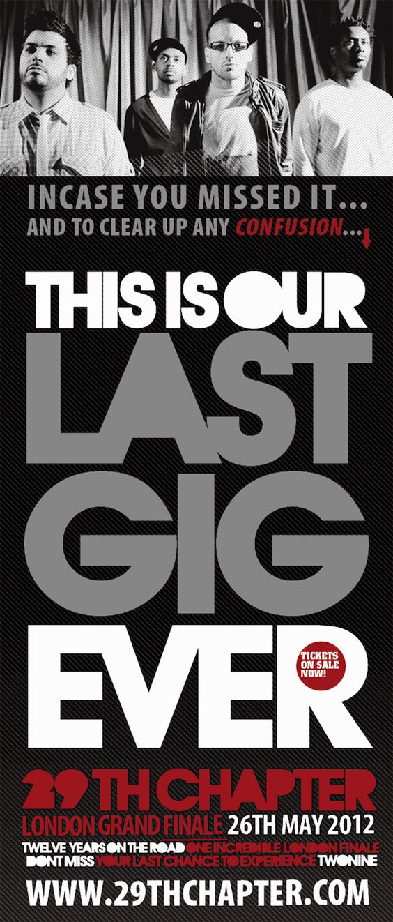 29th Chapter Announce Last Gig Ever In London On 26th May 2012