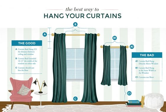 the best way to hang your curtains handy smart useful pinterest ceiling curtains the. Black Bedroom Furniture Sets. Home Design Ideas