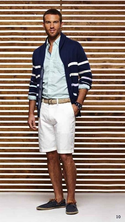 Shop this look on Lookastic:  https://lookastic.com/men/looks/shawl-cardigan-dress-shirt-shorts-boat-shoes-belt/2648  — Navy and White Horizontal Striped Shawl Cardigan  — Light Blue Dress Shirt  — White Leather Belt  — White Shorts  — Navy Leather Boat Shoes