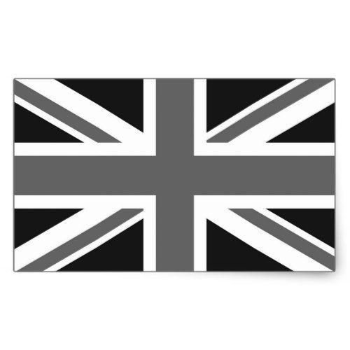 Black White British Flag Rectangular Sticker Zazzle Com British Flag Black And White Black And White Design