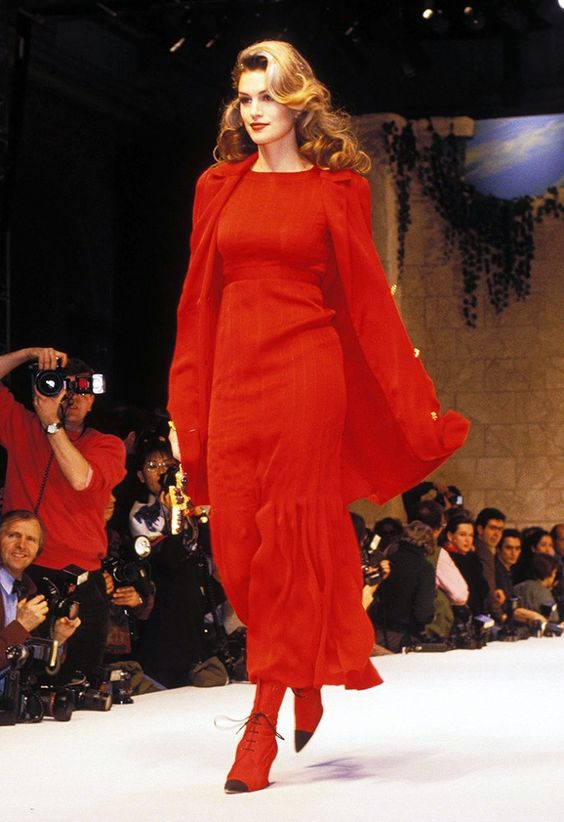 Cindy Crawford vintage runway photo from Chanel in 1993