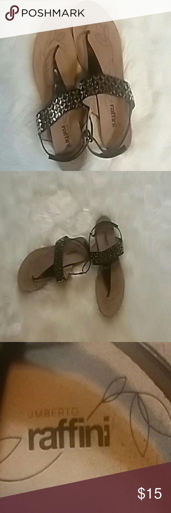 Black sandals size 11 - Umberto Raffinu Black Sandals Size 11 Raffini Black Sandals With Silver Embellishmrnts Size 11 These