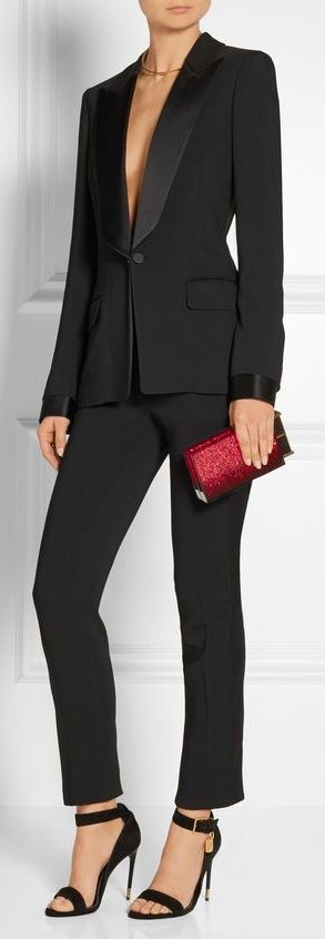 Tom Ford. Probably can't afford this specific one, but I would love a feminine tuxedo style cocktail suit. Either one not quite so low so I could wear without a shirt, or one I could wear a camisole with.
