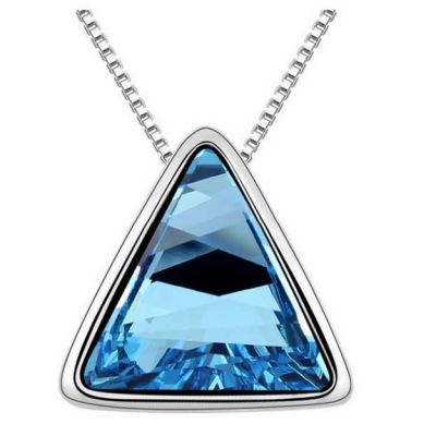 Fashion Woman Crystal Necklace with Triangle Pendant - Blue