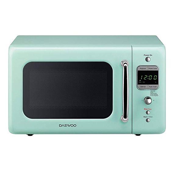 Daewoo KOR-7LREM Retro Countertop Microwave Oven 0.7 Cu. Ft, 700W | Mint Green