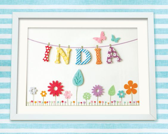 This pretty bunting & flower meadow personalised childrens artwork makes a beautiful and unique gift for any little girls room. This design was first