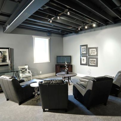 Basement Layout Dark Brown And Ceilings On Pinterest