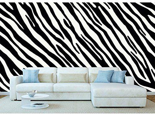 Custom made zebra print wallpaper on a living room wall