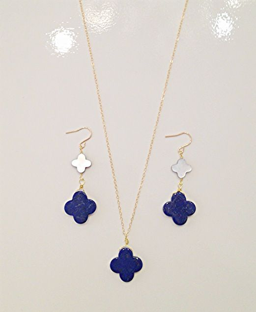 Lapis lazuli earrings $48 necklace $48 by Raised By Wolves NYC ❤❤❤❤❤ #earrings #necklace #RaisedByWolvesNYCJewelry #lapis #LapusLazuli #jewelry