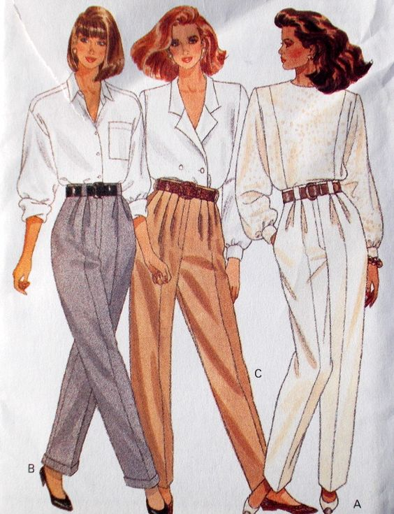 Butterick 6842 - Vintage 80s Sewing Pattern - Women Pants Miss 12 Tapered pants with front pleats, belt carriers an mock fly zipper; waistline and pockets variations. Vintage 1988. Condition: Uncut, f