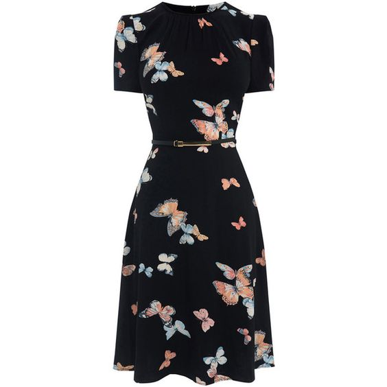 LONG BUTTERFLY SKATER DRESS (£45) ❤ liked on Polyvore featuring dresses, long day dresses, long holiday dresses, special occasion dresses, holiday dresses and puff sleeve dress