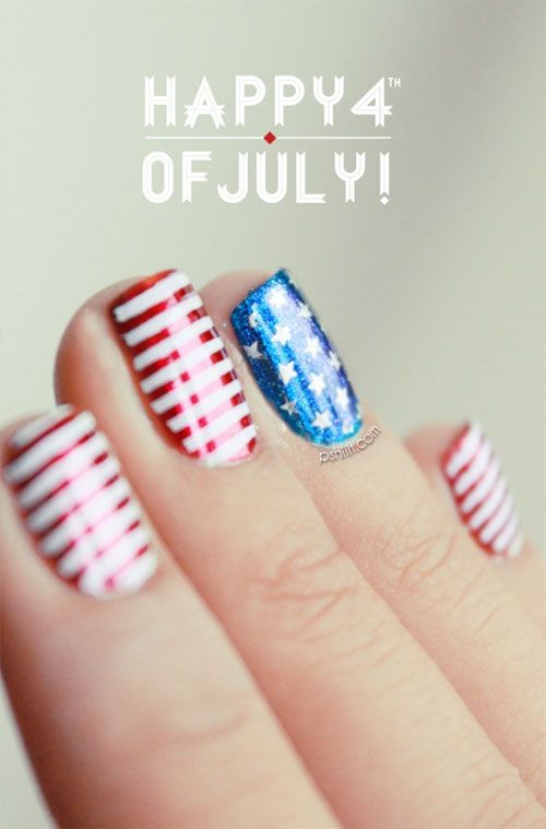 Patriotic Nails For The 4th Of July Red White And Blue Fireworks