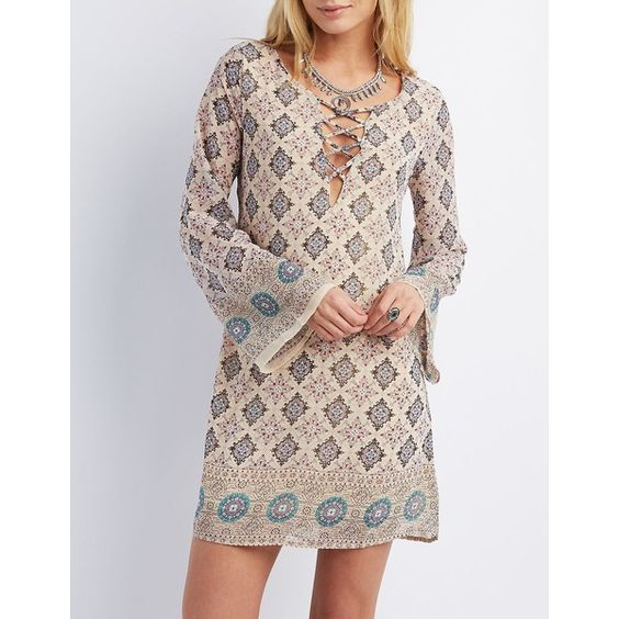 Charlotte Russe Lattice Plunge Shift Dress (46 CAD) ❤ liked on Polyvore featuring dresses, taupe combo, transparent dress, sheer dress, shift dress, plunging neckline dress and bell sleeve dress