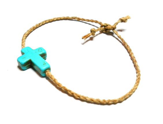 Western cowboy country rope straw lasso braided friendship bracelets - natural straw string cord turquoise cross bead fall winter 2012