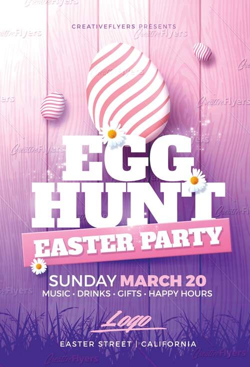 Easter Party Flyer Psd Templates Typographie Flyer