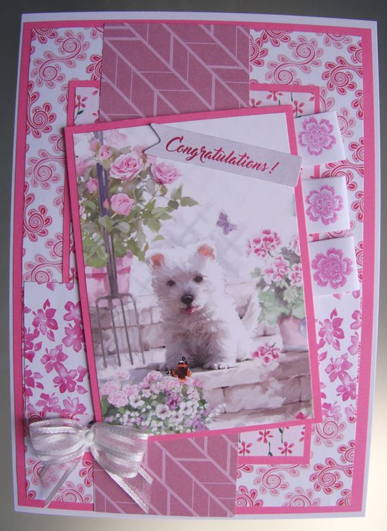 I made this card for the Allsorts challenge 'Pets'. A really cute picture of a Westie, I wish she was mine! I am also entering this card in the As You See It recipe challenge 'Potpourri'.