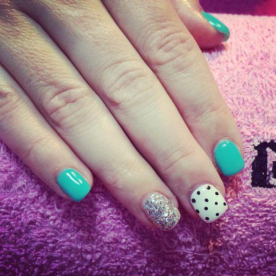 Mint glitter & polka dots