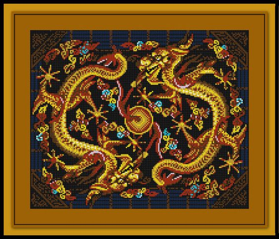 Chinese Dragon Cross Stitch Pattern Gold Tapestry
