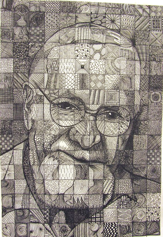 Papa   byLou Traylor example of grid drawing using pattern for value