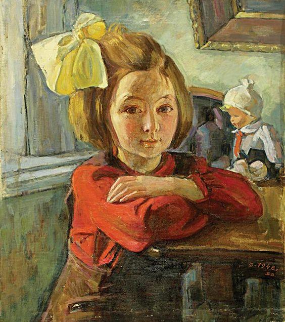 Неизвестный художник. — Девочка с бантом.  : 1948 г.