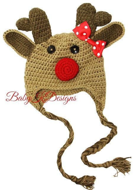 Crochet CHRISTMAS Rudolph Clarice The Red Nose reindeer beanie hat for girls up to 4 years by Baby K Designs