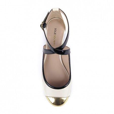 Sole Society - Round toe flats - Emerald - Ecru Gold Black
