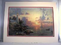 Lrg 11x14 Dbl Mat Print Thomas Kinkade Sea of Tranquility Lighthouse 8x12 image