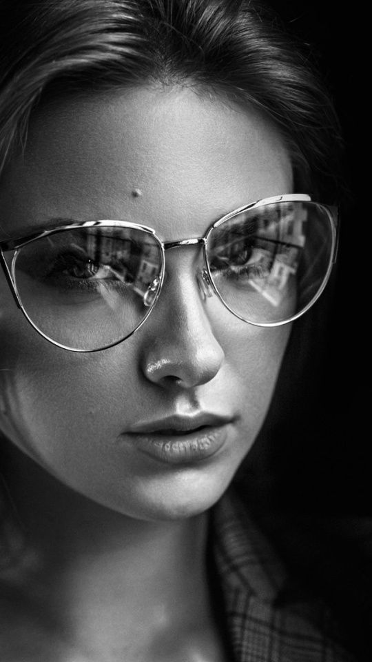 Glasses Monochrome Girl Model Carla Sonre 540x960 Wallpaper Black And White Portraits Beauty Photoshoot Girls With Glasses