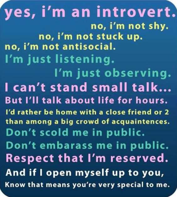 Except I can be shy but the rest is pretty much me