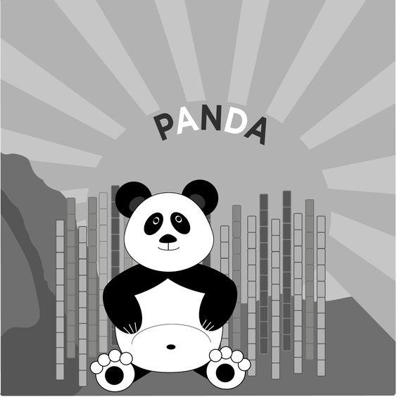 Panda. Simple illustration for my little mans' room