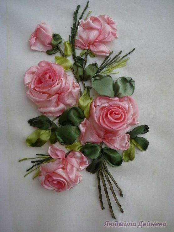 Silk ribbon embroidery gallery Розовые розы Вышивка