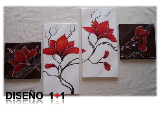Cuadro flores pintado a mano con acr lico sobre lienzo - Cuadros pintados a mano online ...
