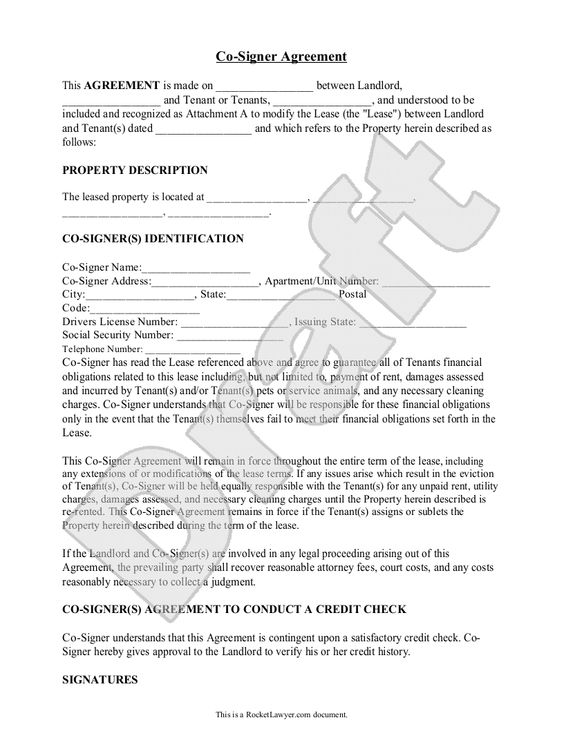 Sample Co-Signer Agreement Form Template rental forms Pinterest - apartment rental contract sample