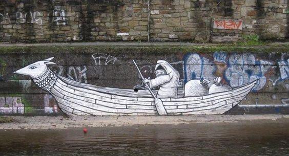 Street Art By Phlegm Street Art Street And Graffiti - Awesome mechanical shark mural phlegm
