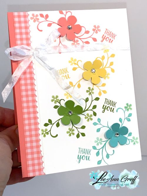 Gingham Rainbow Flower Card Flower Cards Card Craft Stamping Up Cards