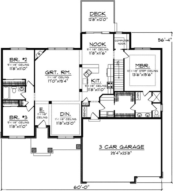 3 car garage open floor plans and open floor on pinterest for One level house plans with 3 car garage