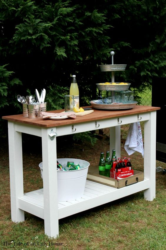 Use your kreg jig to create a stylish outdoor serving buffet free plans by amanda at the tale - Build outdoor bar table ...