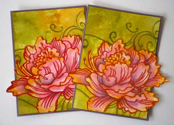 I thought it would be an interesting experiment to make two cards the same, one using Tim Holtz distress Inks and the other using Stampin'Up! Classic Ink. They are both dye inks, and they are the i...