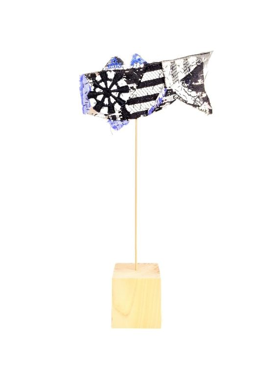 """One-of-a-kind handmade mini koinobori (""""carp streamer""""), created by textile artist Fumi Ito out of NUNO fabrics. Available at NUNOonline.com"""