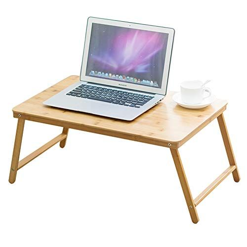 Bjab Wooden Small Folding Tables Computer Notebook Lazy Desk Foldable Bedside Table Dormitory Bedroom Size 60x27 Simple Desk Laptop Desk For Bed Study Table