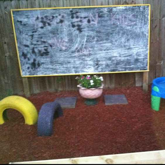Our play space with chalkboard, jumping tires and sandbox.