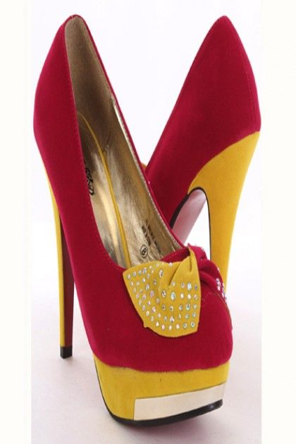 Fuchsia Two Tone Velvet Twisted Beaded Bow Platform Heels