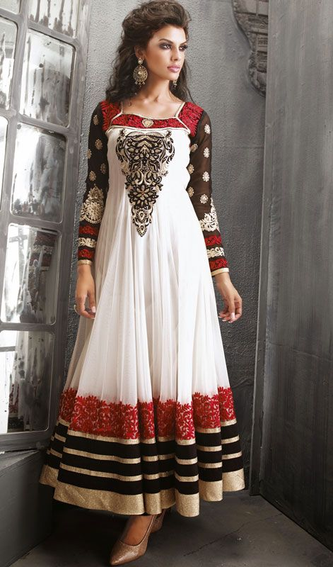 White and black net long anarkali churidar dress price for Indian wedding dresses usa