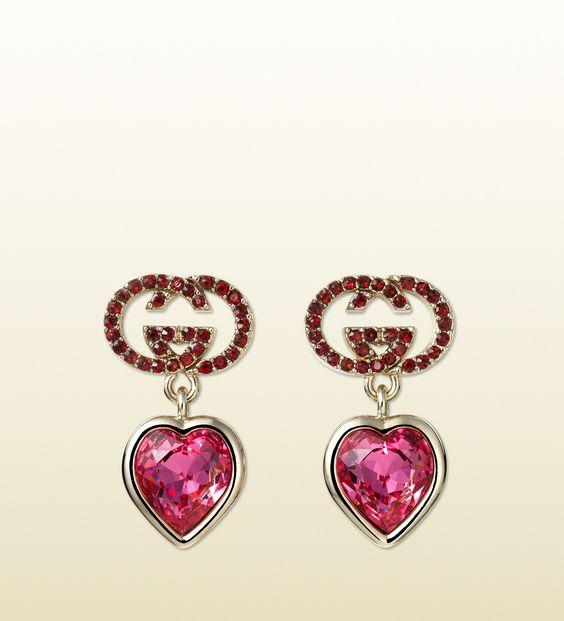 Gucci - herzförmige Ohrringe mit Kristall