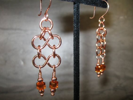 Crystal and Copper Earrings (2-186)