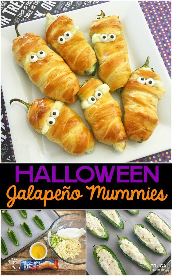 Jalapeño Popper Mummies - a Halloween Food Craft on Frugal Coupon Living plus…: