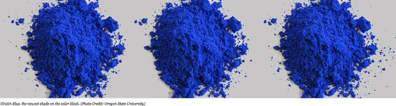 2016 - A new blue (YInMn Blue, named after its three elements: Yttrium (Y), Indium (In) and Manganese (Mn).  It absorbs UV light and resists high temperatures, making it a promising color option for cooling roofs.  Shepherd Color is Partnering with Oregon State University Chemist Mas Subramanian and His Team to Bring a New Blue Pigment to the Market