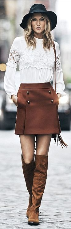 White Shirt brown skirt and pants u2013 Express. Street autumn fall elegant women fashion outfit ...