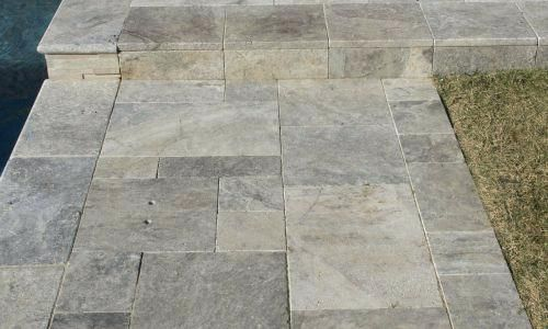 How To Install Travertine Pavers Pool Deck Pools With Silver In